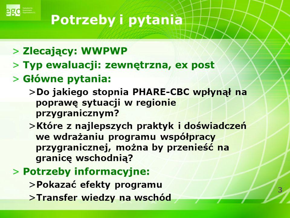 3 Potrzeby i pytania >Zlecający: WWPWP >Typ ewaluacji: zewnętrzna, ex post >Główne pytania: > Do jakiego stopnia PHARE-CBC wpłynął na poprawę sytuacji