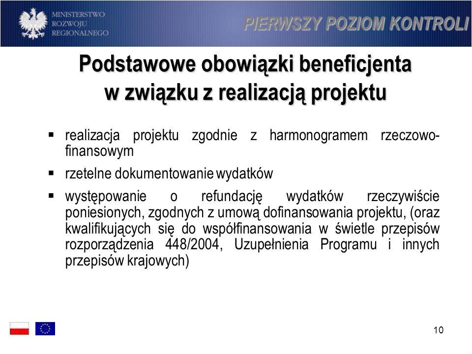 10 Podstawowe obowiązki beneficjenta w związku z realizacją projektu realizacja projektu zgodnie z harmonogramem rzeczowo- finansowym rzetelne dokumen