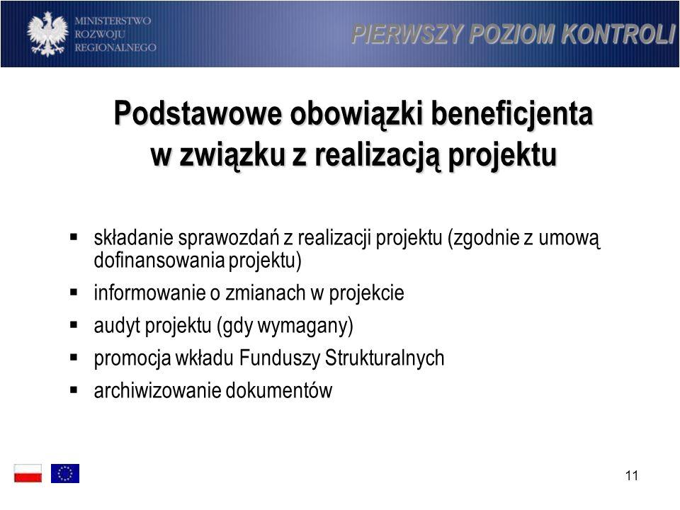 11 Podstawowe obowiązki beneficjenta w związku z realizacją projektu składanie sprawozdań z realizacji projektu (zgodnie z umową dofinansowania projek