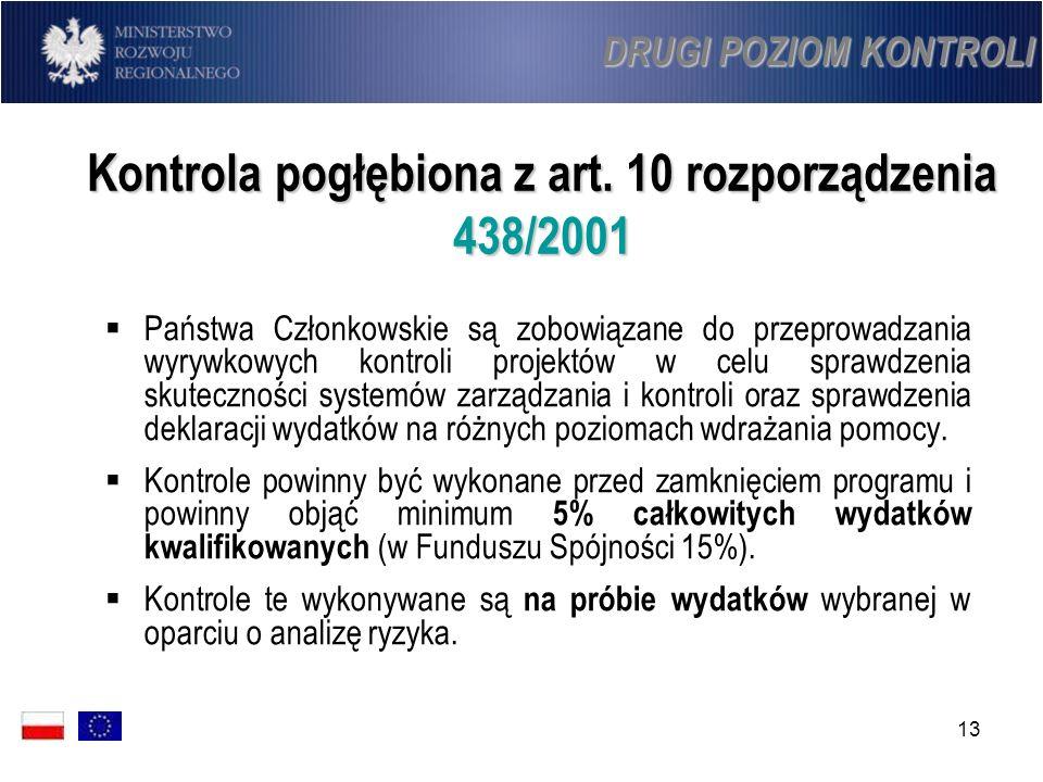 13 Kontrola pogłębiona z art. 10 rozporządzenia 438/2001 Państwa Członkowskie są zobowiązane do przeprowadzania wyrywkowych kontroli projektów w celu