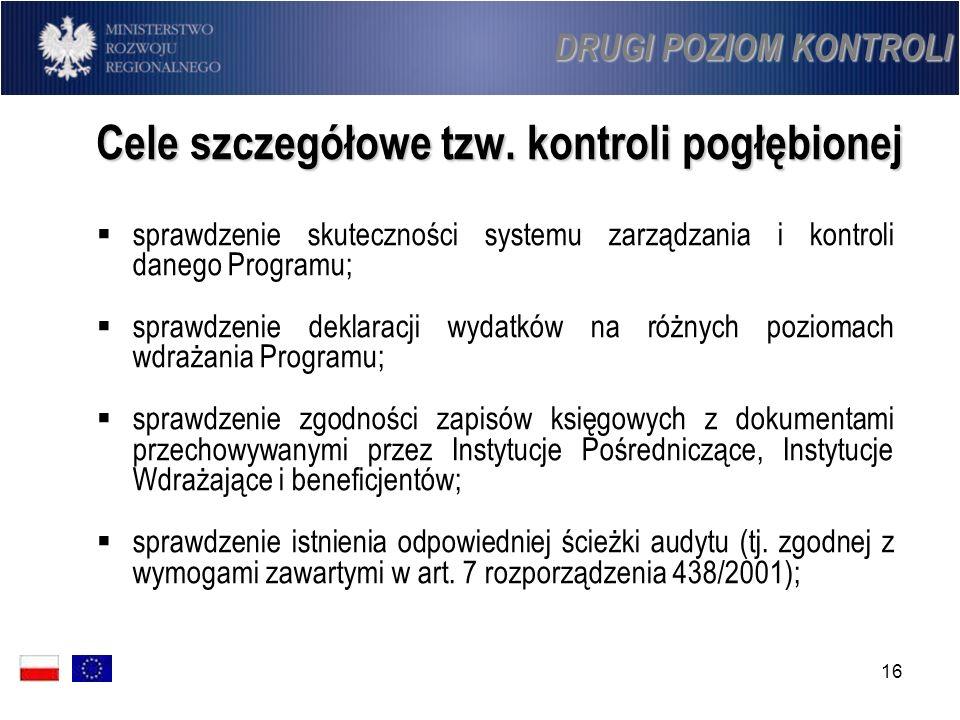 16 Cele szczegółowe tzw. kontroli pogłębionej sprawdzenie skuteczności systemu zarządzania i kontroli danego Programu; sprawdzenie deklaracji wydatków