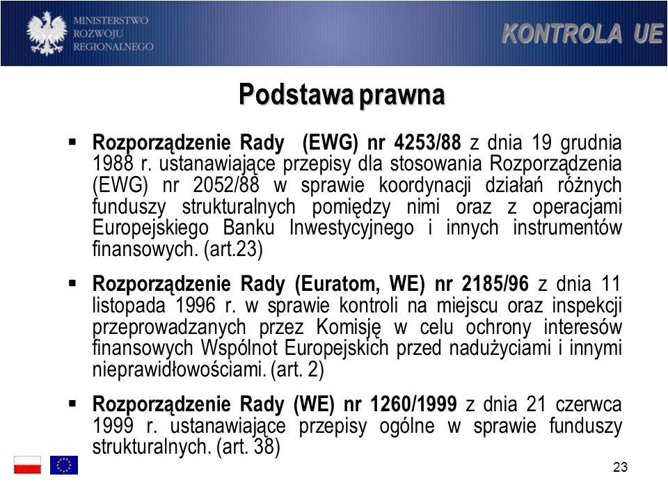 23 Podstawa prawna Rozporządzenie Rady (EWG) nr 4253/88 z dnia 19 grudnia 1988 r. ustanawiające przepisy dla stosowania Rozporządzenia (EWG) nr 2052/8