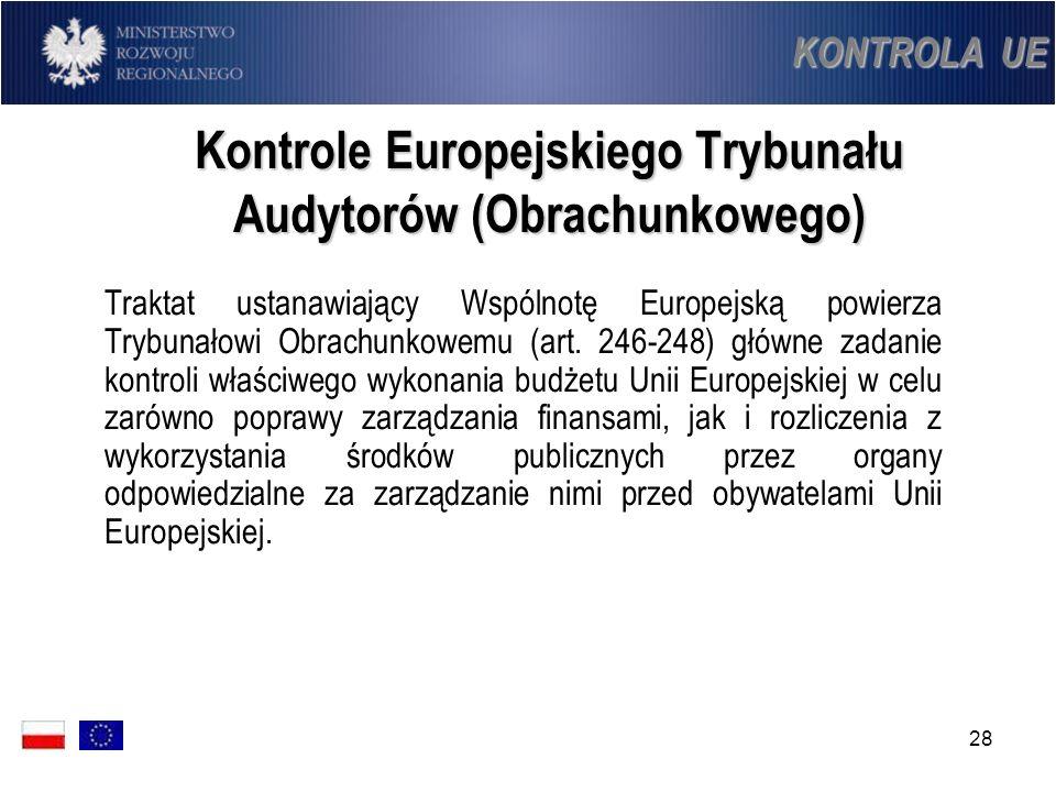 28 Kontrole Europejskiego Trybunału Audytorów (Obrachunkowego) Traktat ustanawiający Wspólnotę Europejską powierza Trybunałowi Obrachunkowemu (art. 24