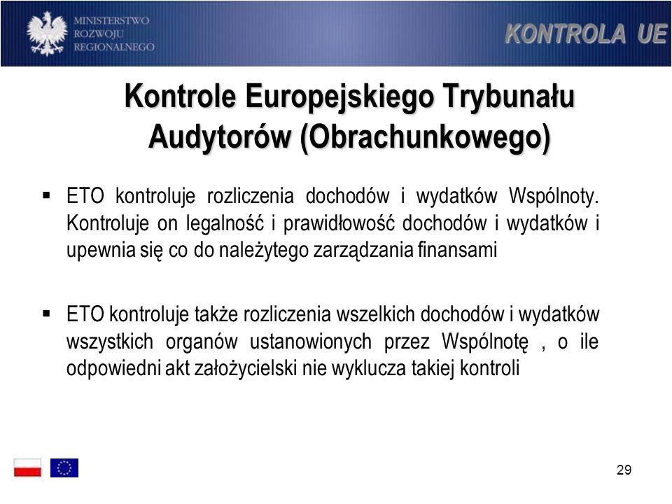 29 Kontrole Europejskiego Trybunału Audytorów (Obrachunkowego) ETO kontroluje rozliczenia dochodów i wydatków Wspólnoty. Kontroluje on legalność i pra