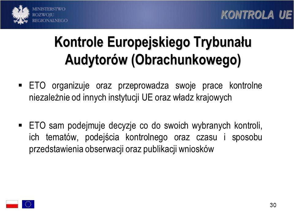 30 Kontrole Europejskiego Trybunału Audytorów (Obrachunkowego) ETO organizuje oraz przeprowadza swoje prace kontrolne niezależnie od innych instytucji
