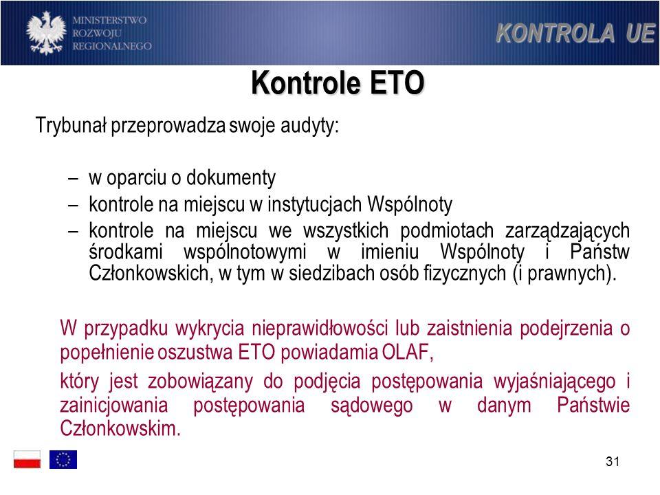 31 Kontrole ETO Trybunał przeprowadza swoje audyty: –w oparciu o dokumenty –kontrole na miejscu w instytucjach Wspólnoty –kontrole na miejscu we wszys