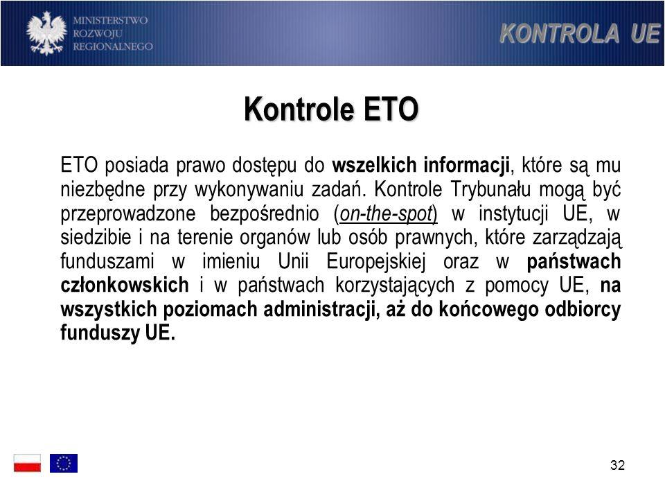 32 Kontrole ETO ETO posiada prawo dostępu do wszelkich informacji, które są mu niezbędne przy wykonywaniu zadań. Kontrole Trybunału mogą być przeprowa