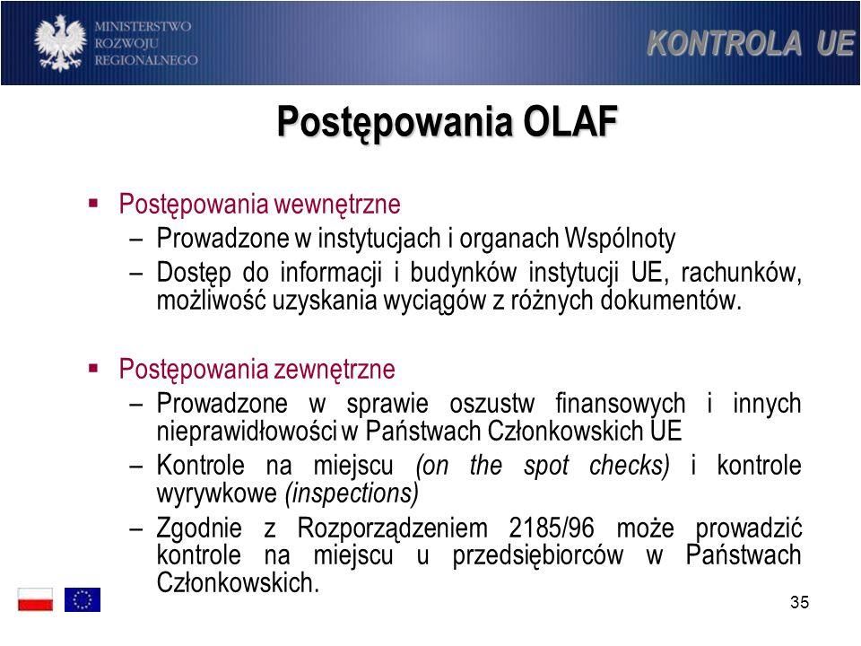 35 Postępowania OLAF Postępowania wewnętrzne –Prowadzone w instytucjach i organach Wspólnoty –Dostęp do informacji i budynków instytucji UE, rachunków