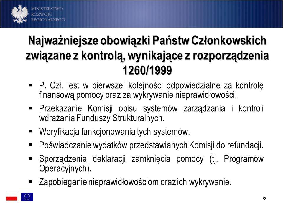 6 Najważniejsze obowiązki Państw Członkowskich związane z kontrolą, wynikające z rozporządzenia 1260/1999 Windykacja kwot utraconych w wyniku stwierdzenia nieprawidłowości.