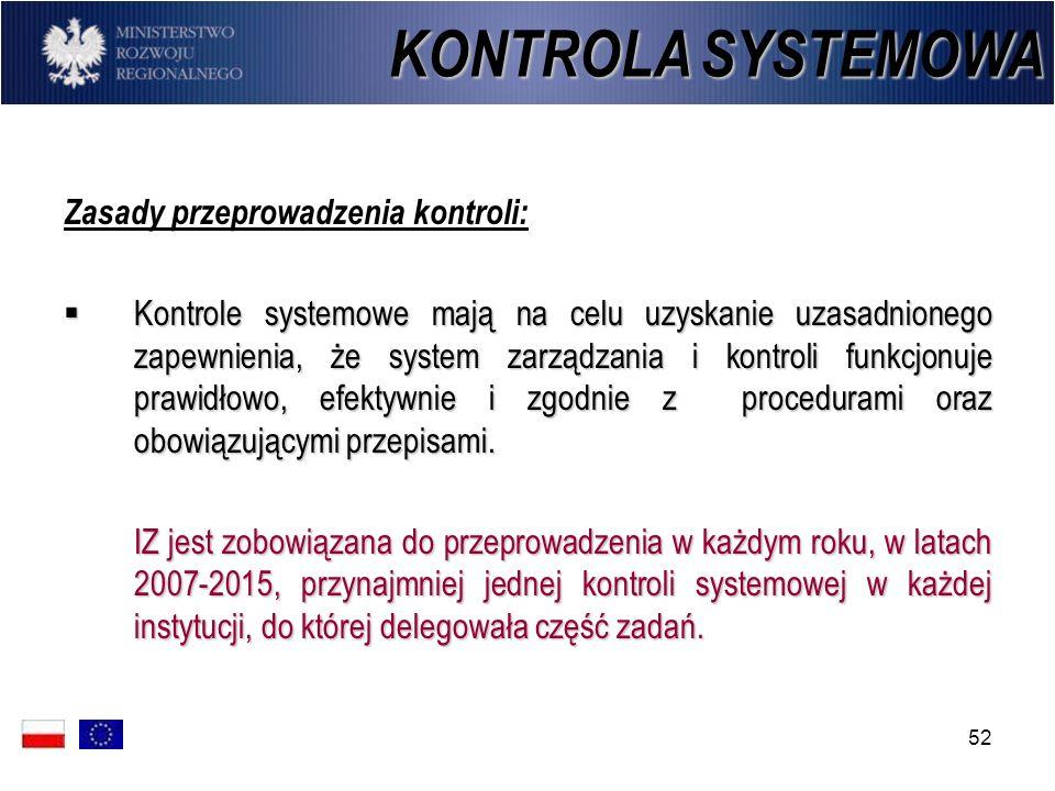 52 Zasady przeprowadzenia kontroli: Kontrole systemowe mają na celu uzyskanie uzasadnionego zapewnienia, że system zarządzania i kontroli funkcjonuje
