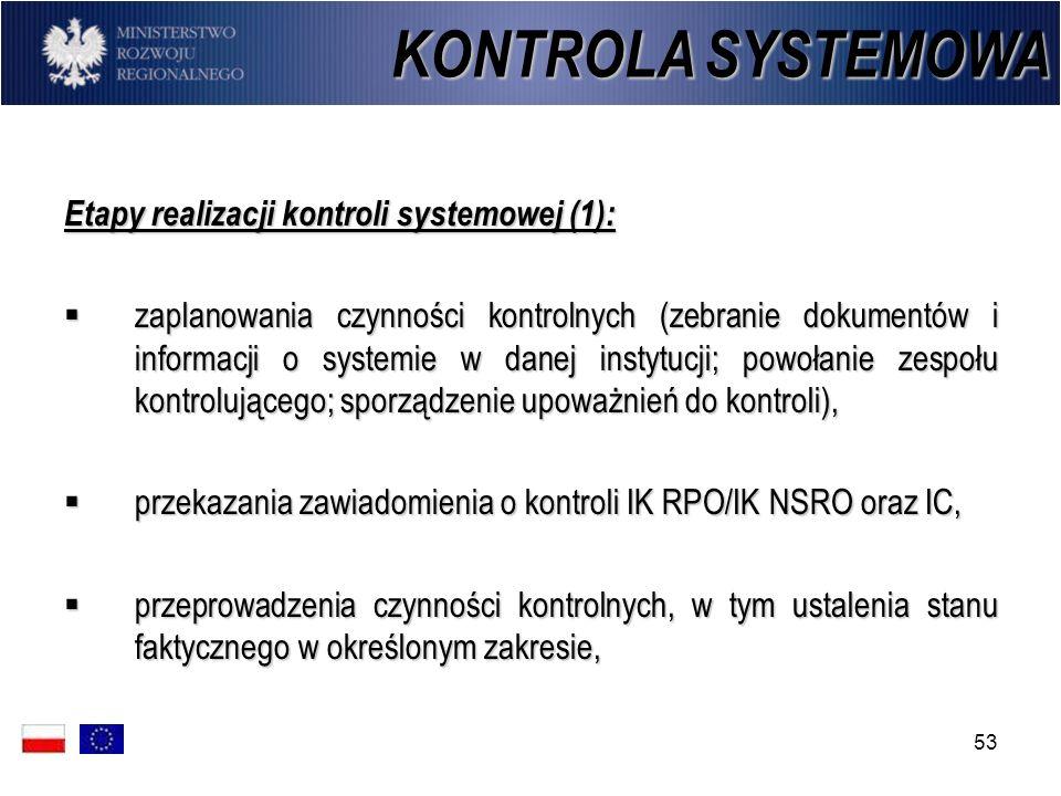 53 Etapy realizacji kontroli systemowej (1): zaplanowania czynności kontrolnych (zebranie dokumentów i informacji o systemie w danej instytucji; powoł