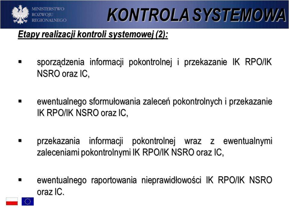 Etapy realizacji kontroli systemowej (2): sporządzenia informacji pokontrolnej i przekazanie IK RPO/IK NSRO oraz IC, sporządzenia informacji pokontrol