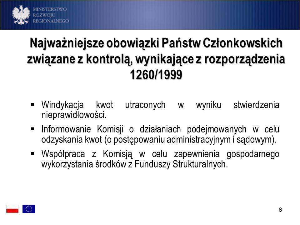 6 Najważniejsze obowiązki Państw Członkowskich związane z kontrolą, wynikające z rozporządzenia 1260/1999 Windykacja kwot utraconych w wyniku stwierdz
