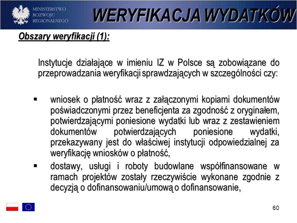 60 WERYFIKACJA WYDATKÓW Obszary weryfikacji (1): Instytucje działające w imieniu IZ w Polsce są zobowiązane do przeprowadzania weryfikacji sprawdzając