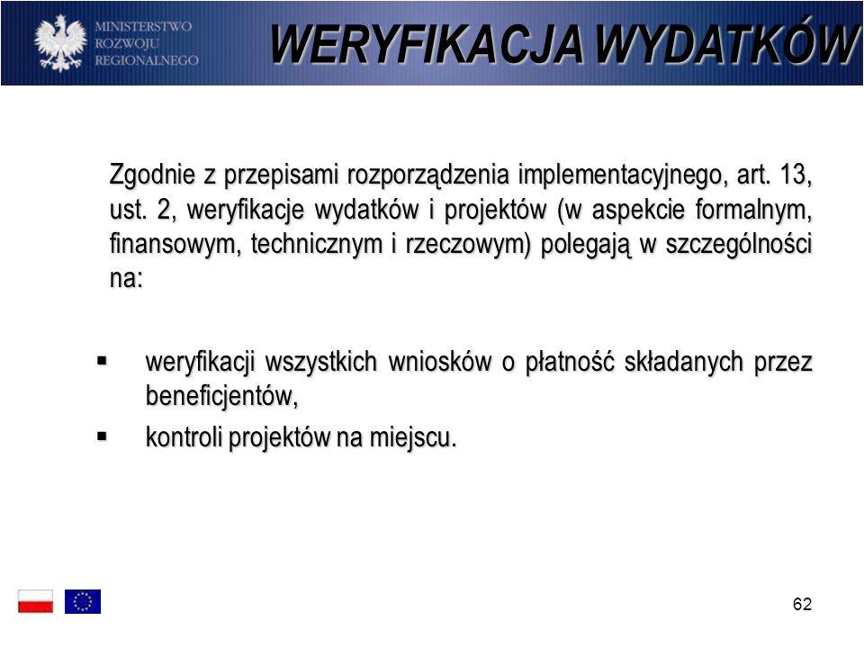 62 Zgodnie z przepisami rozporządzenia implementacyjnego, art. 13, ust. 2, weryfikacje wydatków i projektów (w aspekcie formalnym, finansowym, technic