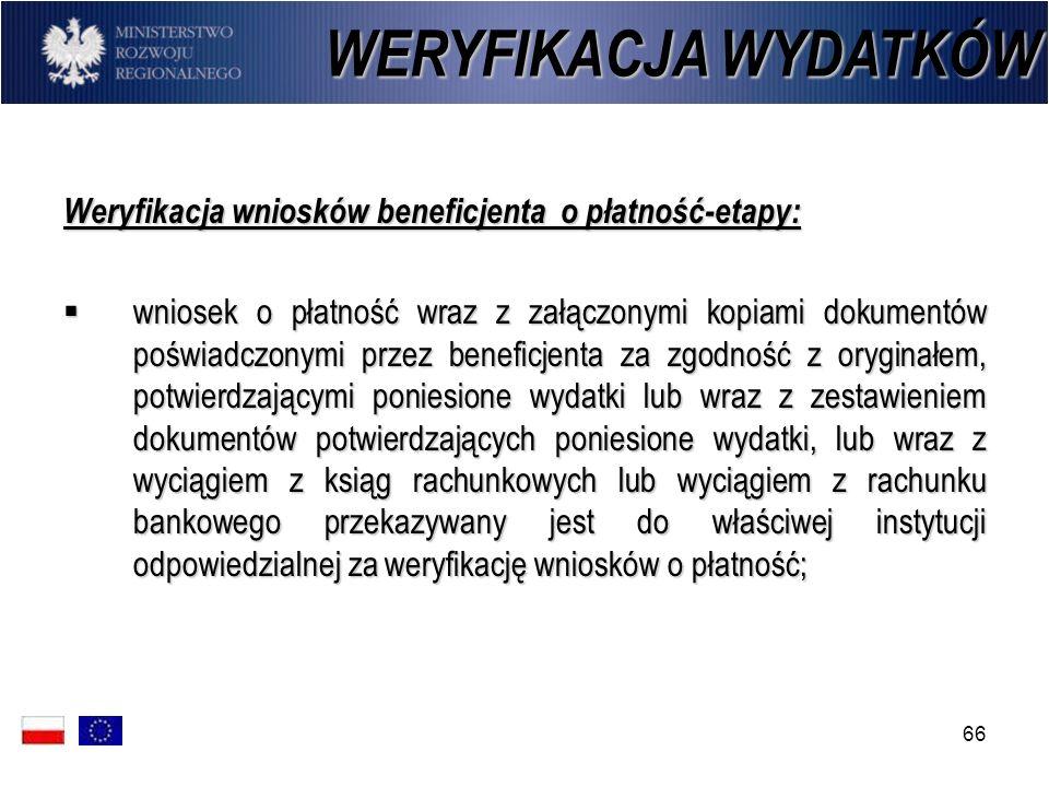 66 Weryfikacja wniosków beneficjenta o płatność-etapy: wniosek o płatność wraz z załączonymi kopiami dokumentów poświadczonymi przez beneficjenta za z