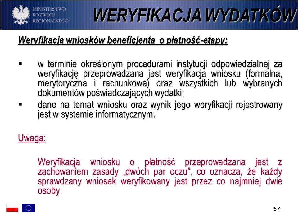 67 Weryfikacja wniosków beneficjenta o płatność-etapy: w terminie określonym procedurami instytucji odpowiedzialnej za weryfikację przeprowadzana jest