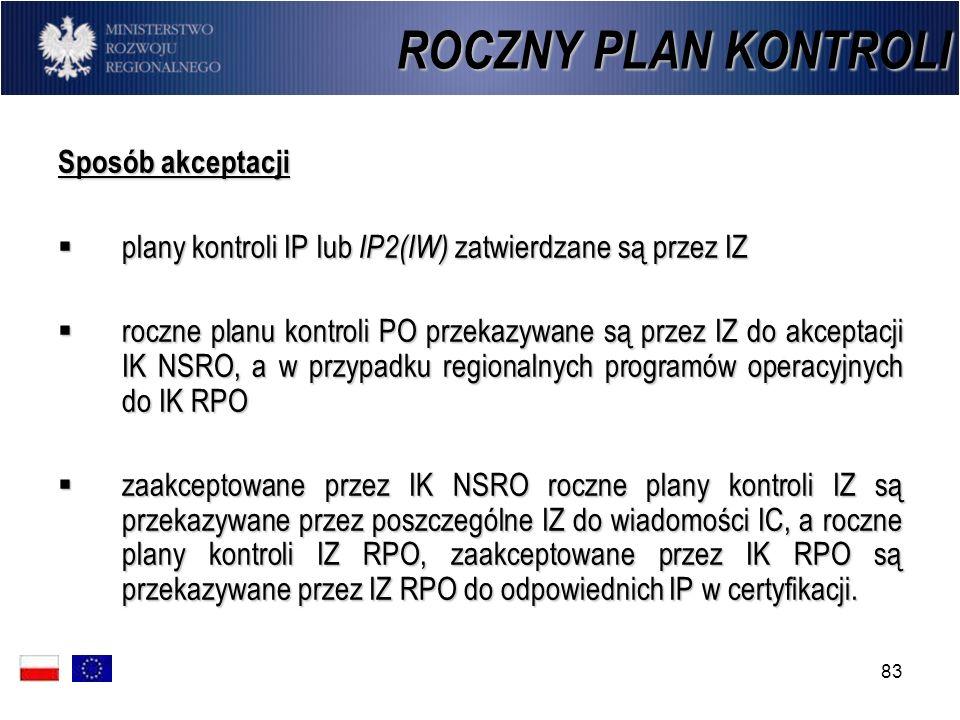83 ROCZNY PLAN KONTROLI Sposób akceptacji plany kontroli IP lub IP2(IW) zatwierdzane są przez IZ plany kontroli IP lub IP2(IW) zatwierdzane są przez I