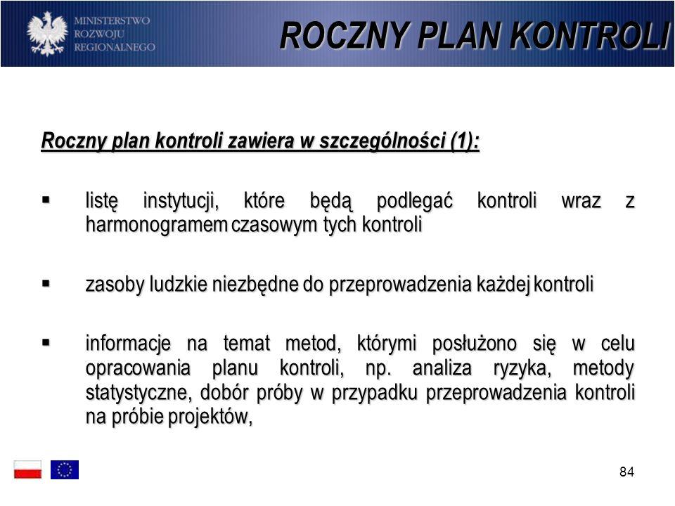 84 ROCZNY PLAN KONTROLI Roczny plan kontroli zawiera w szczególności (1): listę instytucji, które będą podlegać kontroli wraz z harmonogramem czasowym