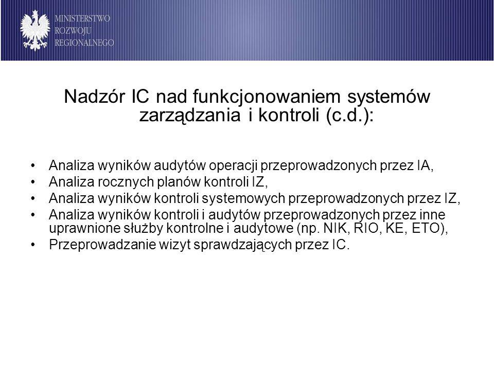 Instytucja Certyfikująca 2007-2013 Nadzór IC nad funkcjonowaniem systemów zarządzania i kontroli (c.d.): Analiza wyników audytów operacji przeprowadzo