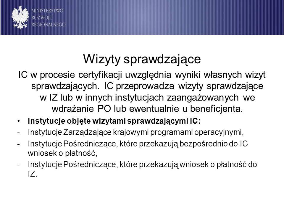 Wizyty sprawdzające IC w procesie certyfikacji uwzględnia wyniki własnych wizyt sprawdzających. IC przeprowadza wizyty sprawdzające w IZ lub w innych