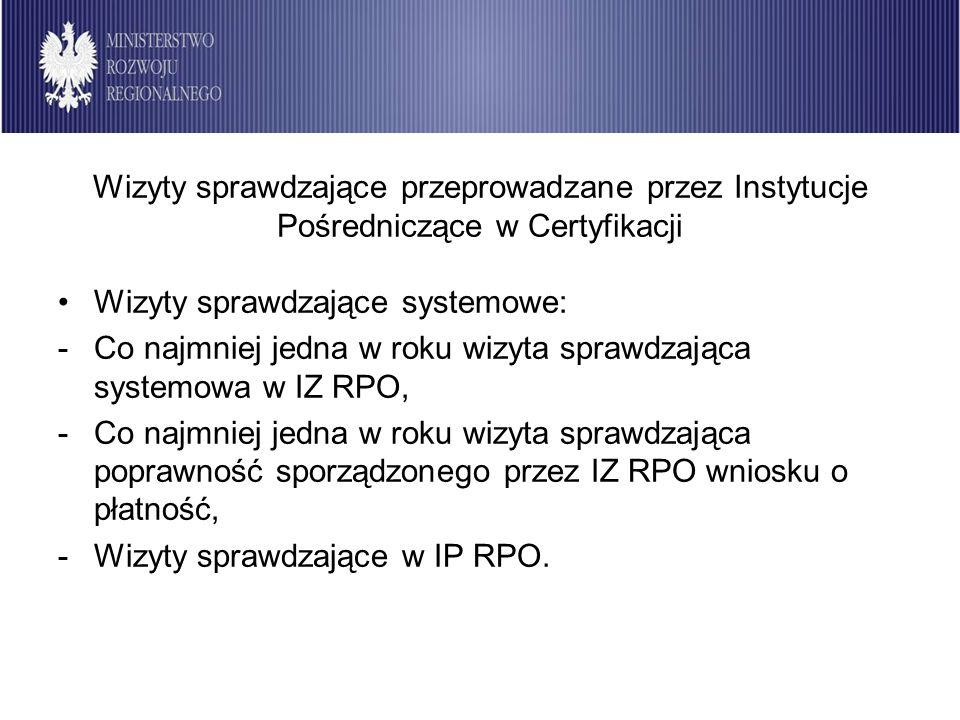 Wizyty sprawdzające przeprowadzane przez Instytucje Pośredniczące w Certyfikacji Wizyty sprawdzające systemowe: -Co najmniej jedna w roku wizyta spraw