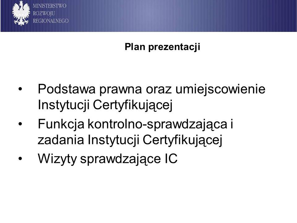 Podstawa prawna oraz umiejscowienie Instytucji Certyfikującej Funkcja kontrolno-sprawdzająca i zadania Instytucji Certyfikującej Wizyty sprawdzające I
