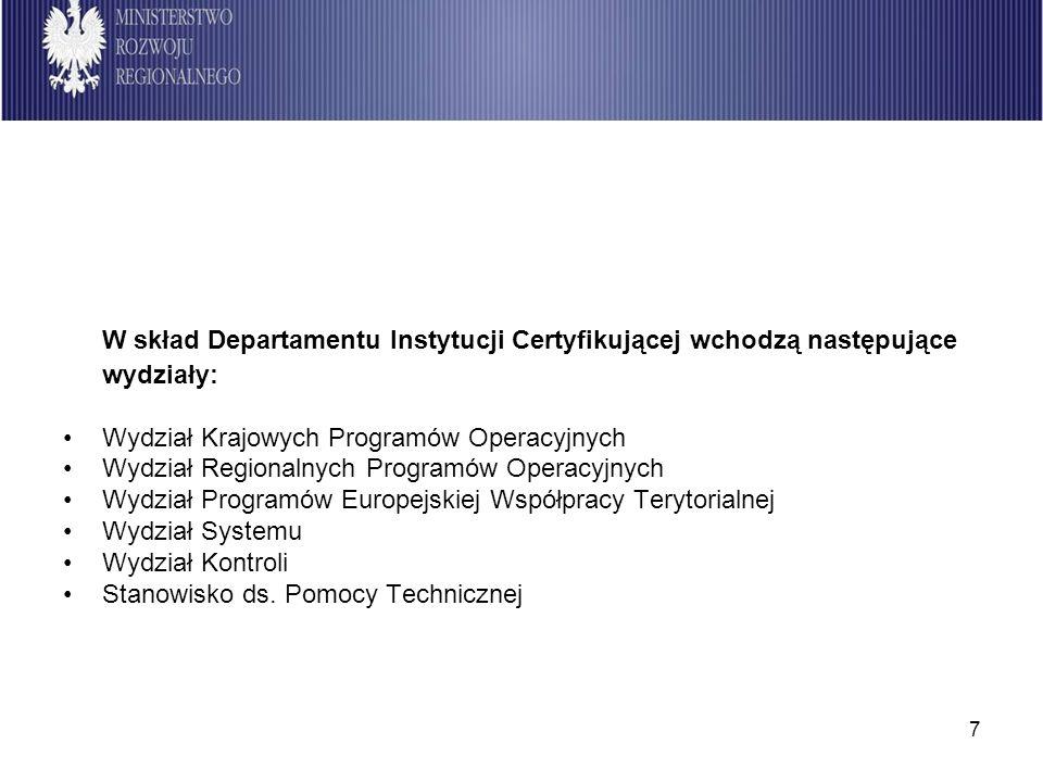 7 W skład Departamentu Instytucji Certyfikującej wchodzą następujące wydziały: Wydział Krajowych Programów Operacyjnych Wydział Regionalnych Programów