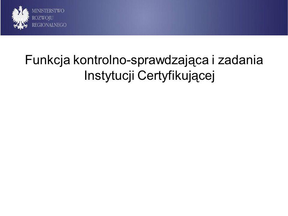 Instytucja Certyfikująca 2007-2013 Funkcja kontrolno-sprawdzająca i zadania Instytucji Certyfikującej