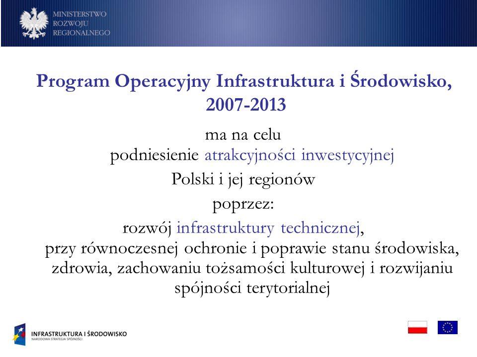 Program Operacyjny Infrastruktura i Środowisko, 2007-2013 ma na celu podniesienie atrakcyjności inwestycyjnej Polski i jej regionów poprzez: rozwój infrastruktury technicznej, przy równoczesnej ochronie i poprawie stanu środowiska, zdrowia, zachowaniu tożsamości kulturowej i rozwijaniu spójności terytorialnej