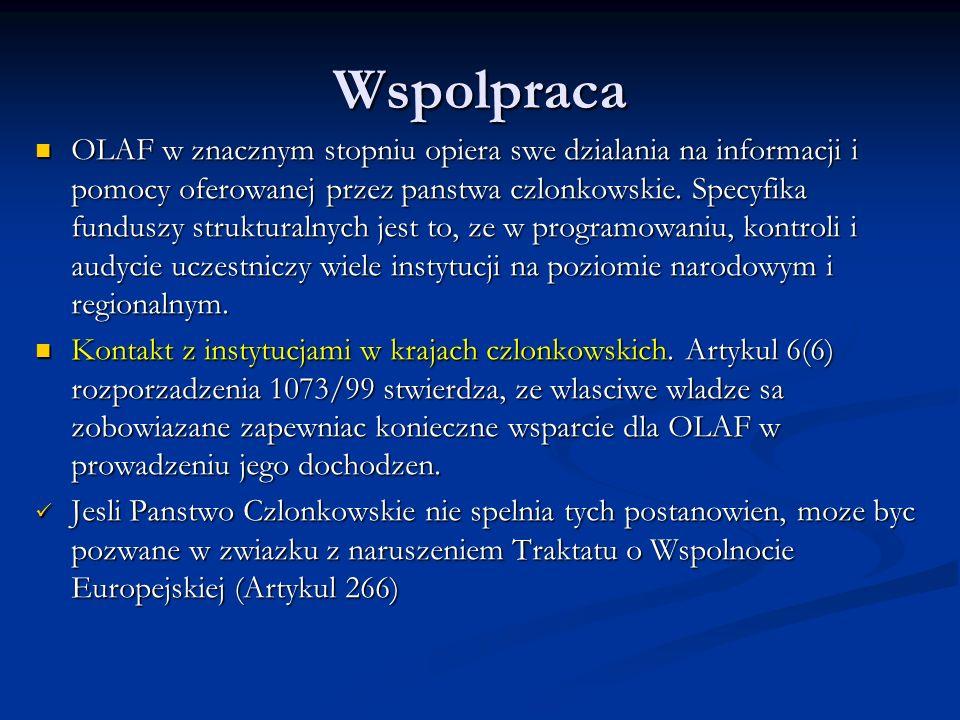 Wspolpraca OLAF w znacznym stopniu opiera swe dzialania na informacji i pomocy oferowanej przez panstwa czlonkowskie.
