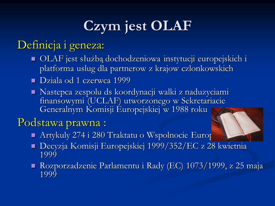 Czym jest OLAF Definicja i geneza: OLAF jest służbą dochodzeniowa instytucji europejskich i platforma uslug dla partnerow z krajow czlonkowskich OLAF jest służbą dochodzeniowa instytucji europejskich i platforma uslug dla partnerow z krajow czlonkowskich Dziala od 1 czerwca 1999 Dziala od 1 czerwca 1999 Nastepca zespolu ds koordynacji walki z naduzyciami finansowymi (UCLAF) utworzonego w Sekretariacie Generalnym Komisji Europejskiej w 1988 roku Nastepca zespolu ds koordynacji walki z naduzyciami finansowymi (UCLAF) utworzonego w Sekretariacie Generalnym Komisji Europejskiej w 1988 roku Podstawa prawna : Artykuly 274 i 280 Traktatu o Wspolnocie Europejskiej Artykuly 274 i 280 Traktatu o Wspolnocie Europejskiej Decyzja Komisji Europejskiej 1999/352/EC z 28 kwietnia 1999 Decyzja Komisji Europejskiej 1999/352/EC z 28 kwietnia 1999 Rozporzadzenie Parlamentu i Rady (EC) 1073/1999, z 25 maja 1999 Rozporzadzenie Parlamentu i Rady (EC) 1073/1999, z 25 maja 1999