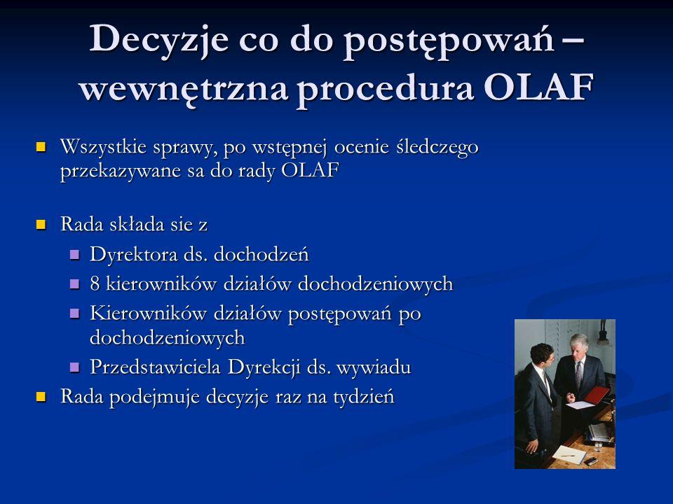Decyzje co do postępowań – wewnętrzna procedura OLAF Wszystkie sprawy, po wstępnej ocenie śledczego przekazywane sa do rady OLAF Wszystkie sprawy, po wstępnej ocenie śledczego przekazywane sa do rady OLAF Rada składa sie z Rada składa sie z Dyrektora ds.