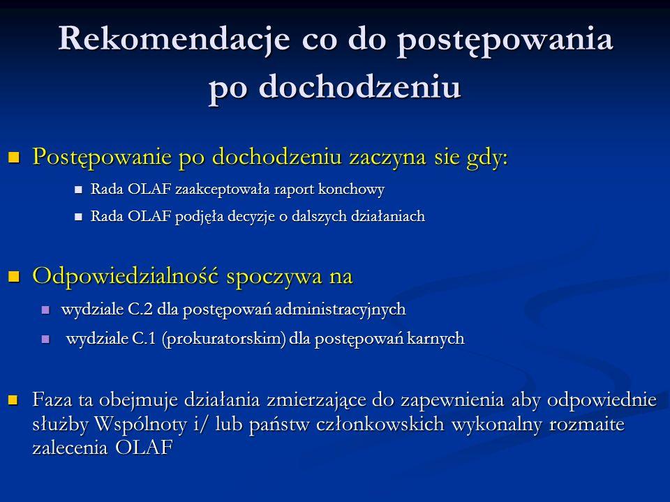 Rekomendacje co do postępowania po dochodzeniu Postępowanie po dochodzeniu zaczyna sie gdy: Postępowanie po dochodzeniu zaczyna sie gdy: Rada OLAF zaakceptowała raport konchowy Rada OLAF zaakceptowała raport konchowy Rada OLAF podjęła decyzje o dalszych działaniach Rada OLAF podjęła decyzje o dalszych działaniach Odpowiedzialność spoczywa na Odpowiedzialność spoczywa na wydziale C.2 dla postępowań administracyjnych wydziale C.2 dla postępowań administracyjnych wydziale C.1 (prokuratorskim) dla postępowań karnych wydziale C.1 (prokuratorskim) dla postępowań karnych Faza ta obejmuje działania zmierzające do zapewnienia aby odpowiednie służby Wspólnoty i/ lub państw członkowskich wykonalny rozmaite zalecenia OLAF Faza ta obejmuje działania zmierzające do zapewnienia aby odpowiednie służby Wspólnoty i/ lub państw członkowskich wykonalny rozmaite zalecenia OLAF