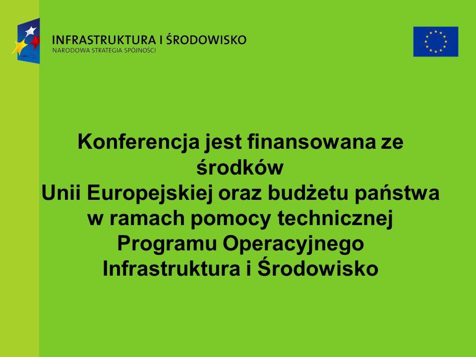 Konferencja jest finansowana ze środków Unii Europejskiej oraz budżetu państwa w ramach pomocy technicznej Programu Operacyjnego Infrastruktura i Środowisko