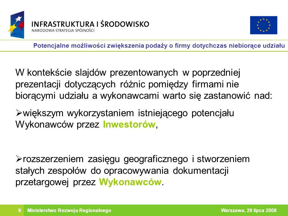 9Warszawa, 29 lipca 2008Ministerstwo Rozwoju Regionalnego Potencjalne możliwości zwiększenia podaży o firmy dotychczas niebiorące udziału W kontekście slajdów prezentowanych w poprzedniej prezentacji dotyczących różnic pomiędzy firmami nie biorącymi udziału a wykonawcami warto się zastanowić nad: większym wykorzystaniem istniejącego potencjału Wykonawców przez Inwestorów, rozszerzeniem zasięgu geograficznego i stworzeniem stałych zespołów do opracowywania dokumentacji przetargowej przez Wykonawców.