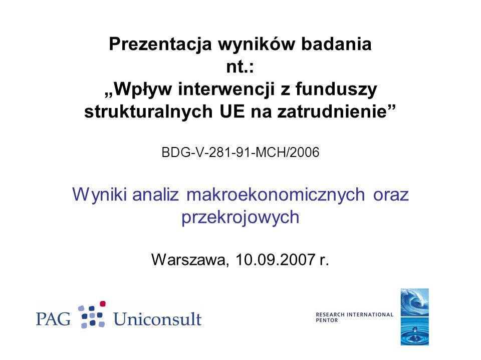 Prezentacja wyników badania nt.: Wpływ interwencji z funduszy strukturalnych UE na zatrudnienie BDG-V-281-91-MCH/2006 Wyniki analiz makroekonomicznych
