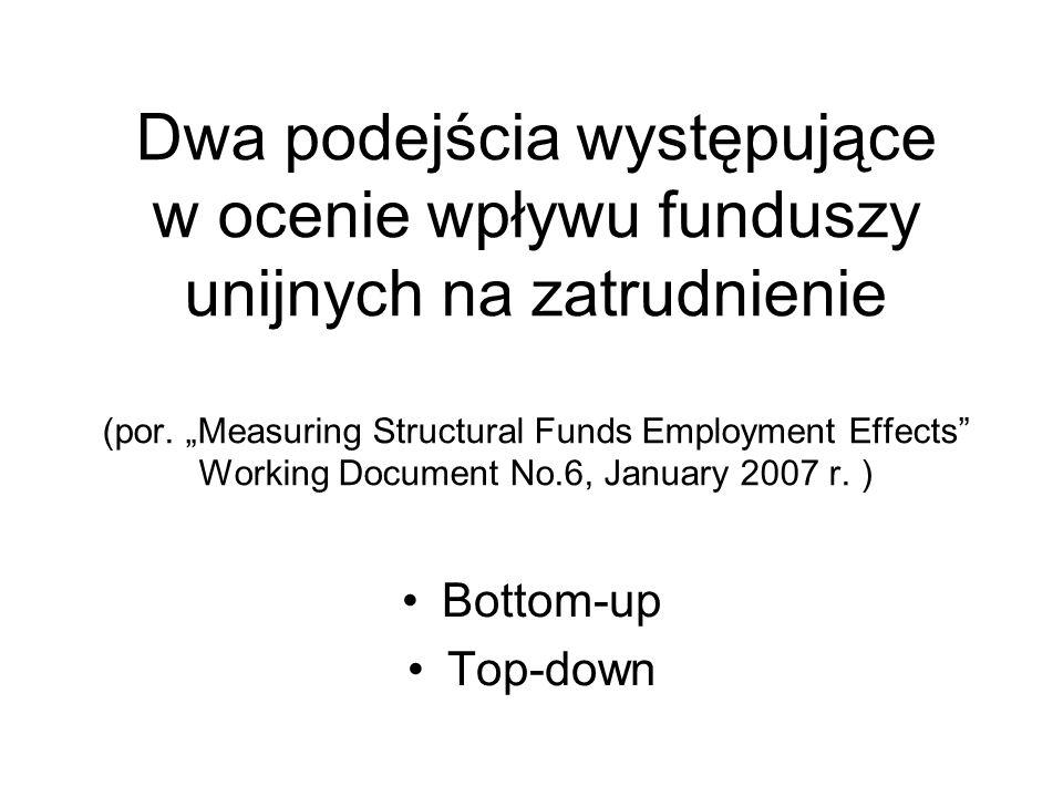 Dwa podejścia występujące w ocenie wpływu funduszy unijnych na zatrudnienie (por. Measuring Structural Funds Employment Effects Working Document No.6,