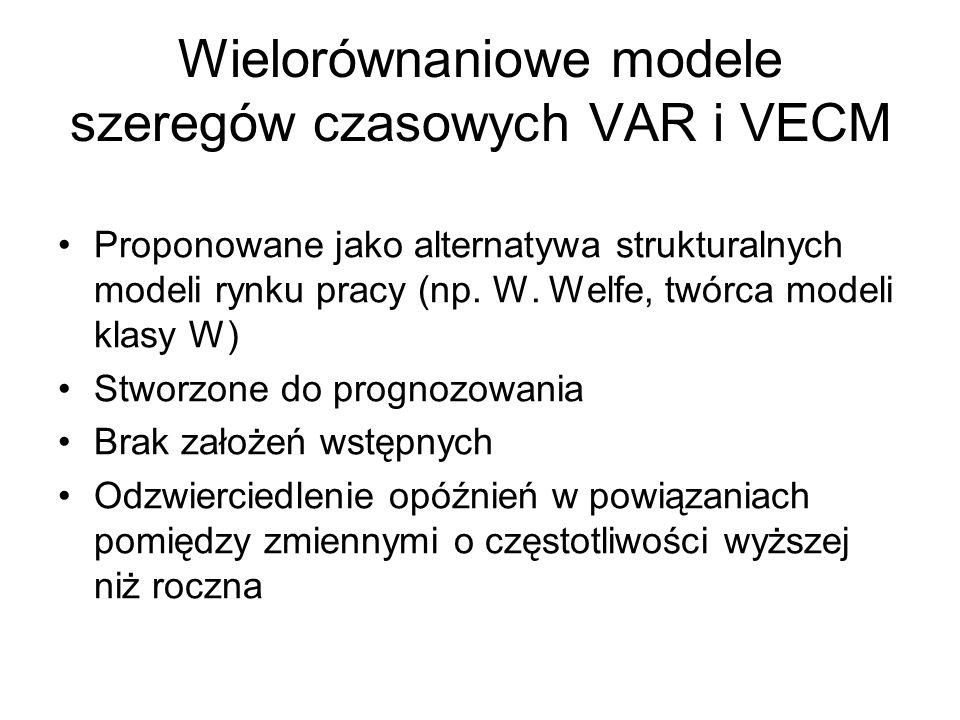 Wielorównaniowe modele szeregów czasowych VAR i VECM Proponowane jako alternatywa strukturalnych modeli rynku pracy (np. W. Welfe, twórca modeli klasy