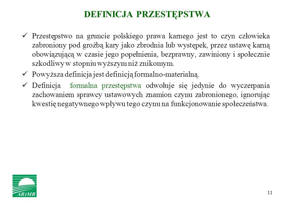 11 DEFINICJA PRZESTĘPSTWA Przestępstwo na gruncie polskiego prawa karnego jest to czyn człowieka zabroniony pod groźbą kary jako zbrodnia lub występek