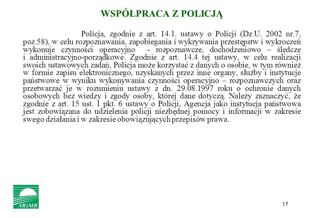 15 WSPÓŁPRACA Z POLICJĄ Policja, zgodnie z art. 14.1. ustawy o Policji (Dz.U. 2002 nr.7, poz.58), w celu rozpoznawania, zapobiegania i wykrywania prze