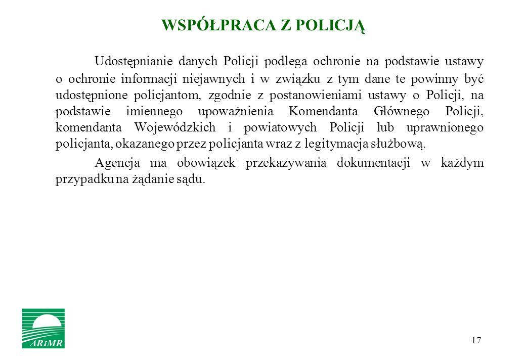 17 WSPÓŁPRACA Z POLICJĄ Udostępnianie danych Policji podlega ochronie na podstawie ustawy o ochronie informacji niejawnych i w związku z tym dane te p