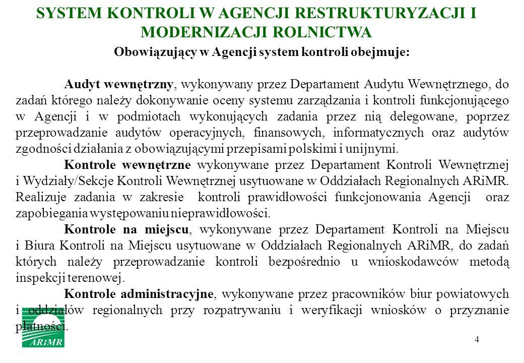 4 SYSTEM KONTROLI W AGENCJI RESTRUKTURYZACJI I MODERNIZACJI ROLNICTWA Obowiązujący w Agencji system kontroli obejmuje: Audyt wewnętrzny, wykonywany pr