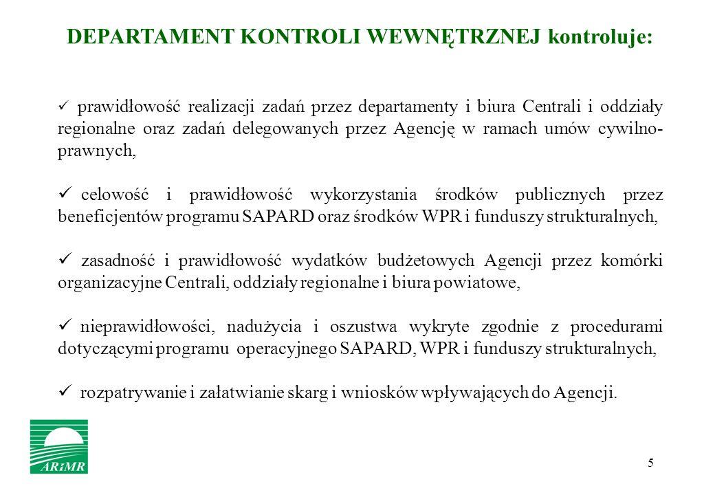 5 DEPARTAMENT KONTROLI WEWNĘTRZNEJ kontroluje: prawidłowość realizacji zadań przez departamenty i biura Centrali i oddziały regionalne oraz zadań dele