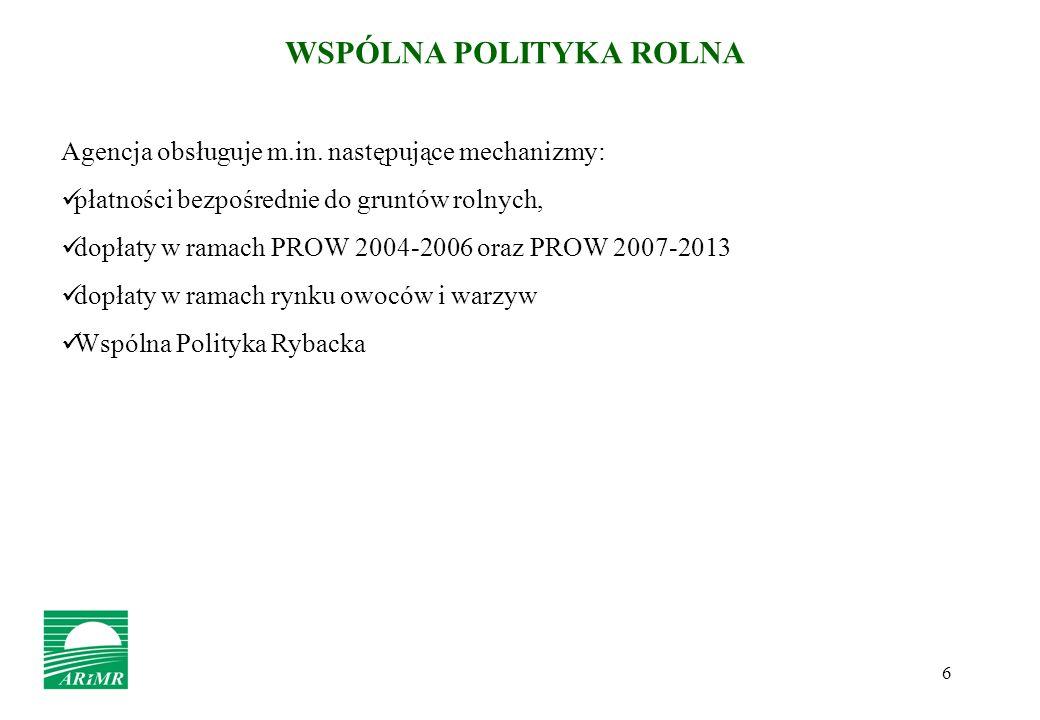 6 WSPÓLNA POLITYKA ROLNA Agencja obsługuje m.in. następujące mechanizmy: płatności bezpośrednie do gruntów rolnych, dopłaty w ramach PROW 2004-2006 or