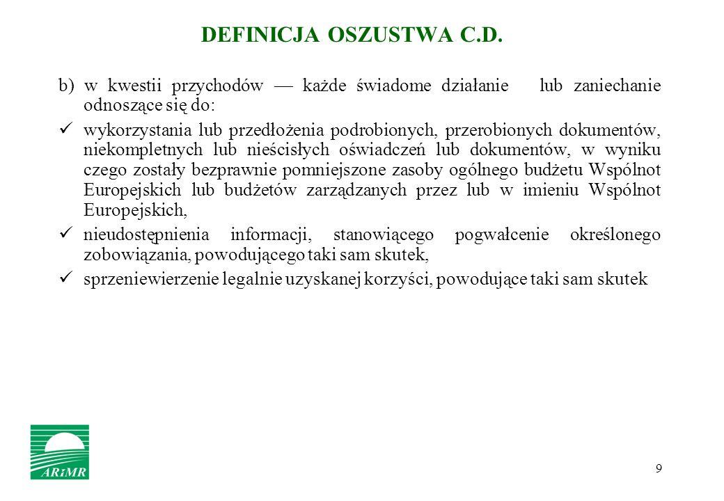 9 DEFINICJA OSZUSTWA C.D. b) w kwestii przychodów każde świadome działanie lub zaniechanie odnoszące się do: wykorzystania lub przedłożenia podrobiony