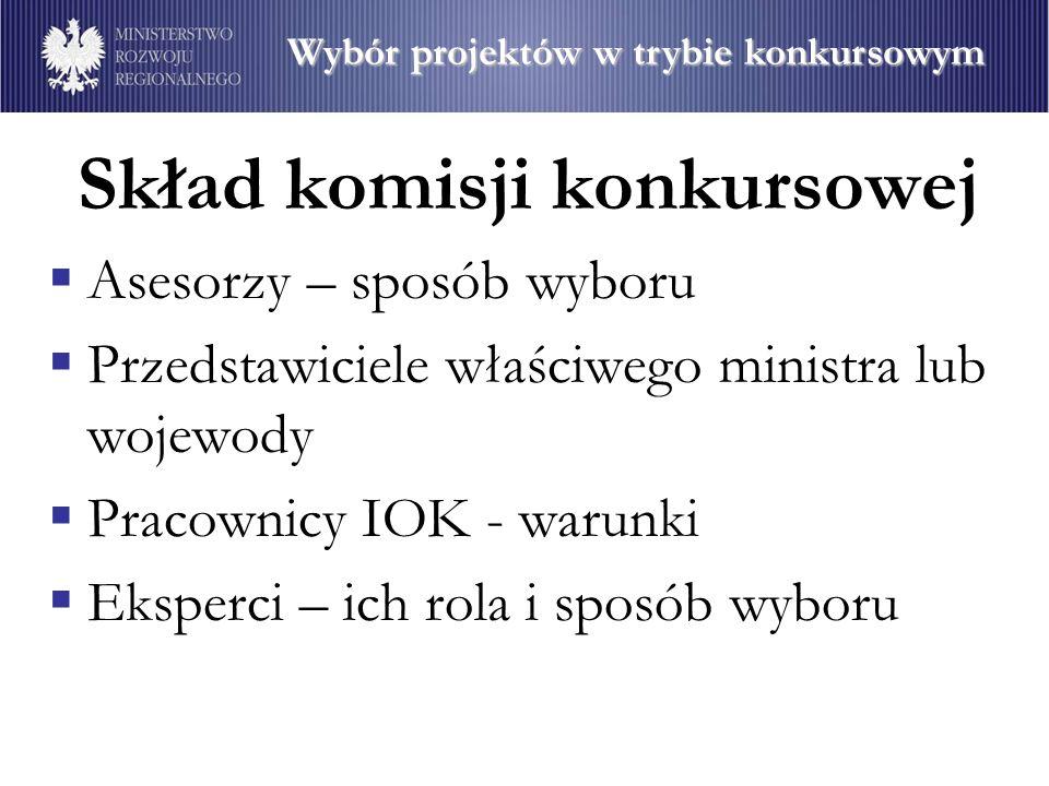 Skład komisji konkursowej Asesorzy – sposób wyboru Przedstawiciele właściwego ministra lub wojewody Pracownicy IOK - warunki Eksperci – ich rola i spo