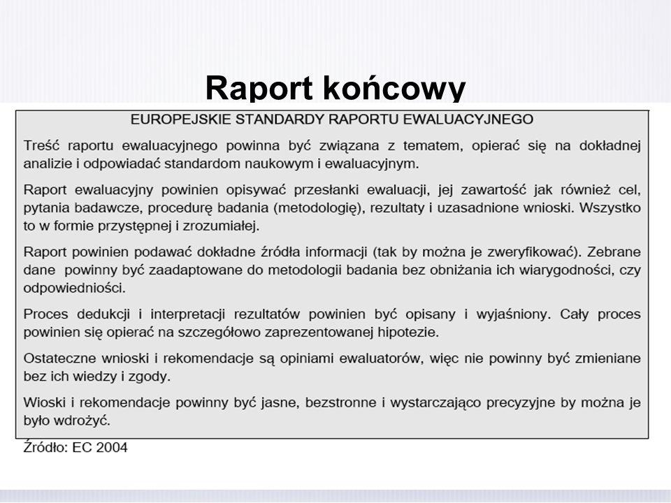 Raport końcowy Oczekiwania odnośnie raportu końcowego i prezentacji wyników: określenie terminu prezentacji (np.