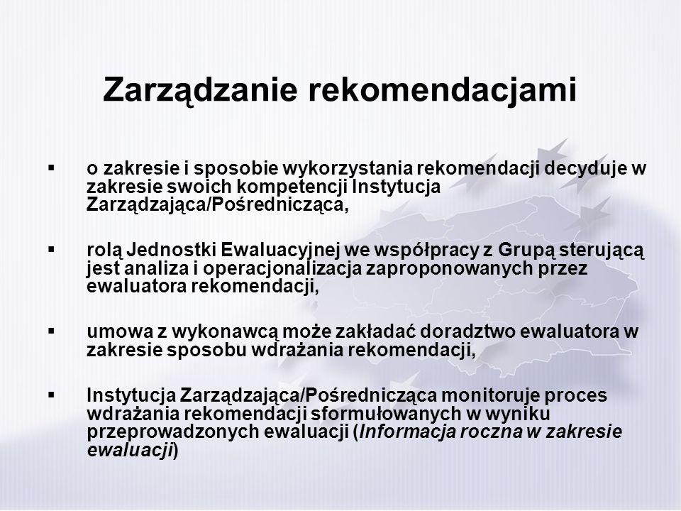 Zarządzanie rekomendacjami o zakresie i sposobie wykorzystania rekomendacji decyduje w zakresie swoich kompetencji Instytucja Zarządzająca/Pośredniczą