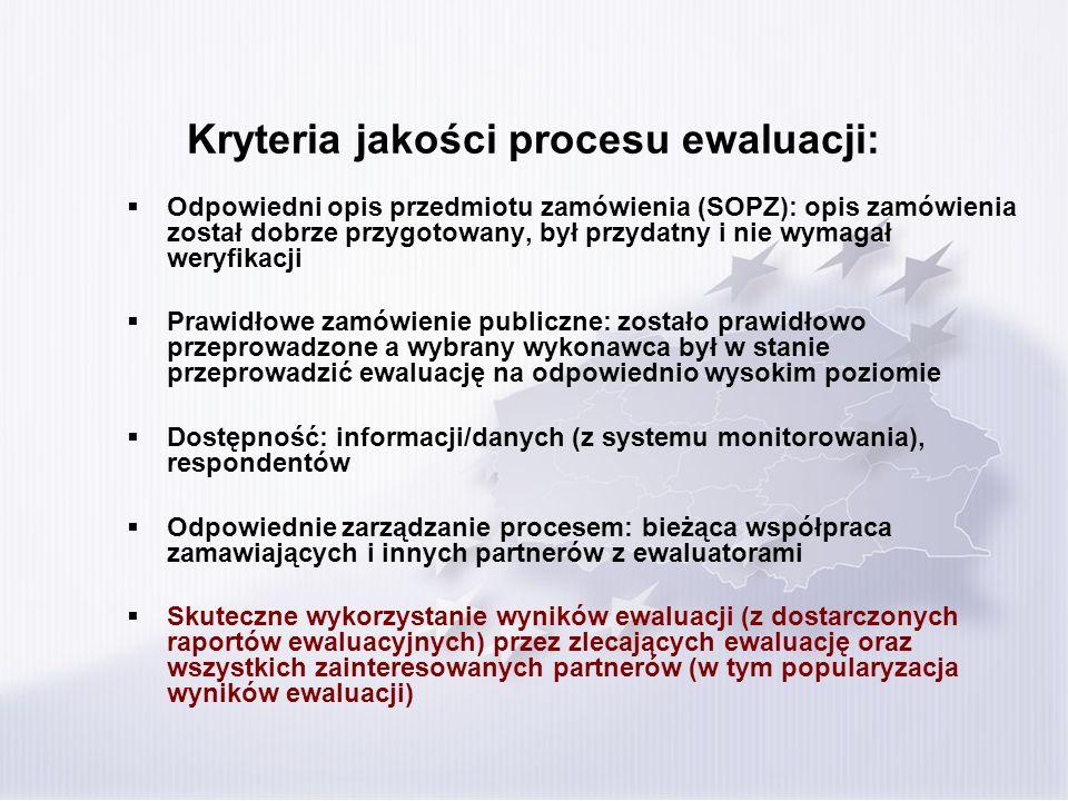 Kryteria jakości procesu ewaluacji: Odpowiedni opis przedmiotu zamówienia (SOPZ): opis zamówienia został dobrze przygotowany, był przydatny i nie wymagał weryfikacji Prawidłowe zamówienie publiczne: zostało prawidłowo przeprowadzone a wybrany wykonawca był w stanie przeprowadzić ewaluację na odpowiednio wysokim poziomie Dostępność: informacji/danych (z systemu monitorowania), respondentów Odpowiednie zarządzanie procesem: bieżąca współpraca zamawiających i innych partnerów z ewaluatorami Skuteczne wykorzystanie wyników ewaluacji (z dostarczonych raportów ewaluacyjnych) przez zlecających ewaluację oraz wszystkich zainteresowanych partnerów (w tym popularyzacja wyników ewaluacji)